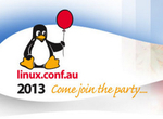 Linux.conf.au 2013 logo: click for conference website