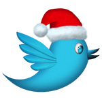 Twitter logo with Christmas hat