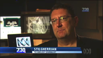 "Screengrab of Stilgherrian on ""7.30"": click for story"