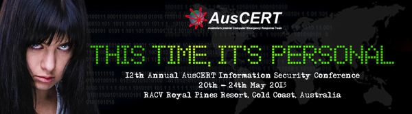 AusCERT 2013 conference banner: click for conference website
