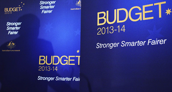 Photo of Budget 2013-2014 papers: click for official government budget website
