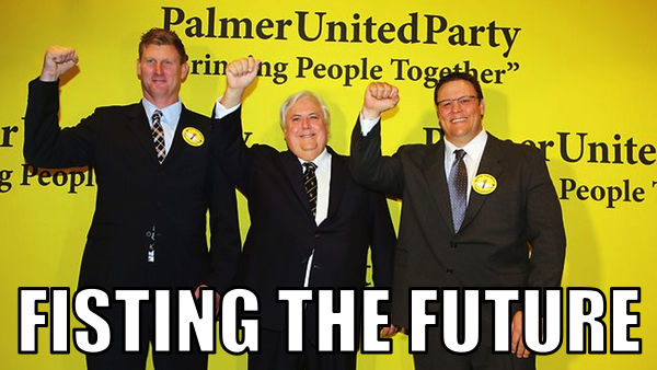 Photo of Clive Palmer and colleagues, fists raised: click for original story at The Australian
