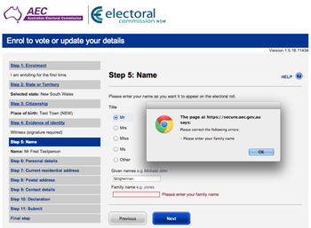 Screenshot of Australian Electoral Commission voter registration form: click to embiggen