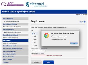 Screenshot of Australian Electoral Commission voter registration form: click to embiggen