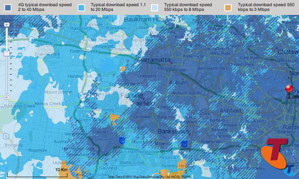 Map of Telstra network coverage in Western Sydney: click for interactive map