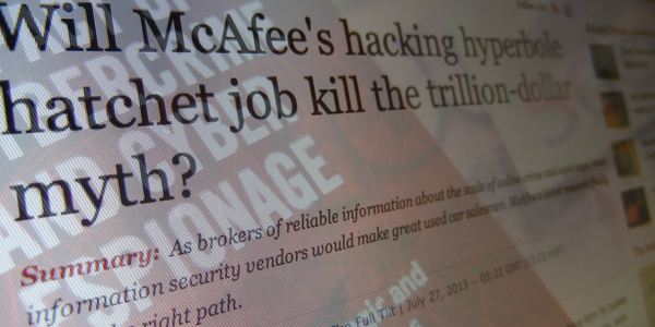 Composite image of ZDNet column headline and McAfee report title: click for ZDNet column