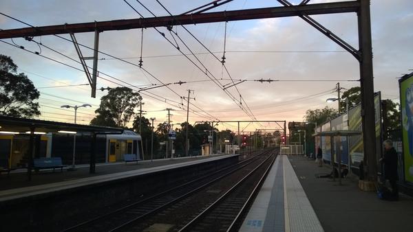 Penrith railway station at dusk: click to embiggen