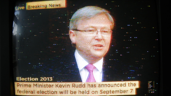 Photograph of TV showing Kevin Rudd announcing the election date