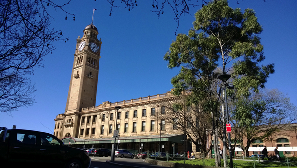 Winter in Sydney, dreadful: a photograph of Sydney Central station on a bright sunny day: click to embiggen