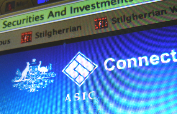 Stylised screenshot of ASIC Connect