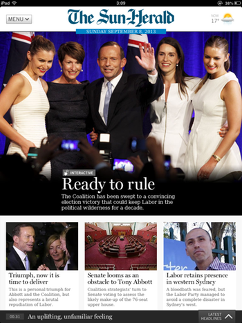 Cover of today's Sun-Herald app: click to embiggen