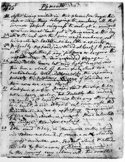 A page from Banks' journal