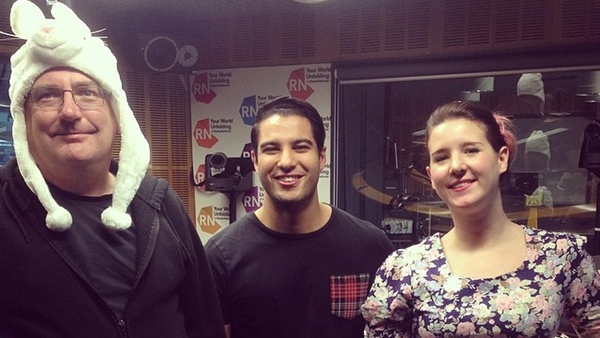 Stilgherrian, Marc Fennell and Claire Porter in the ABC studios: click for full image