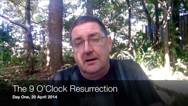Screenshot from The 9 O'Clock Resurrection video for Day 1