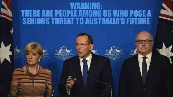 TV screenshot of Julie Bishop, Tony Abbott, George Brandis