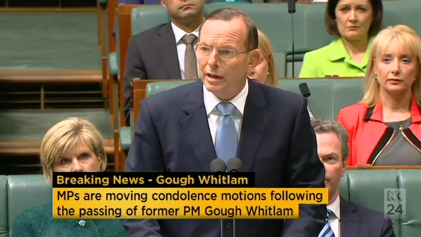 Screenshot of PM Tony Abbott paying tribute to the late Gough Whitlam
