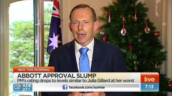 Screenshot of Tony Abbott on Channel Seven's Sunrise