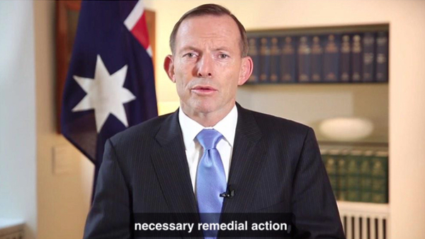Screenshot from Tony Abbott's message, 14 February 2015