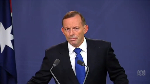 Screenshot from Tony Abbott press conference, 8 February 2015