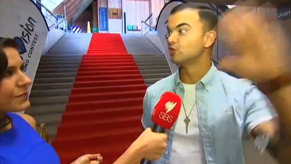 Screenshot of Guy Sebastian on SBS TV