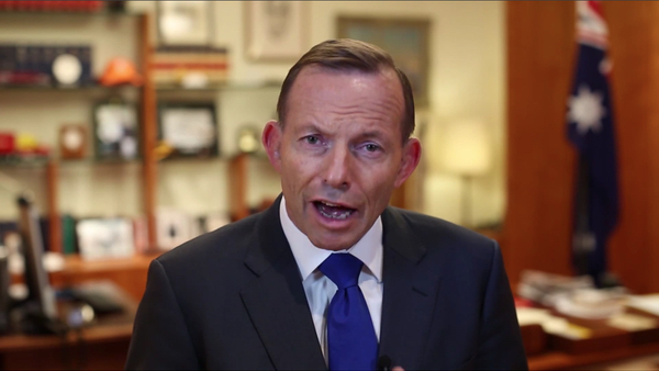 "Screenshot of Tony Abbott from ""A message from the Prime Minister"", 20 June 2015"