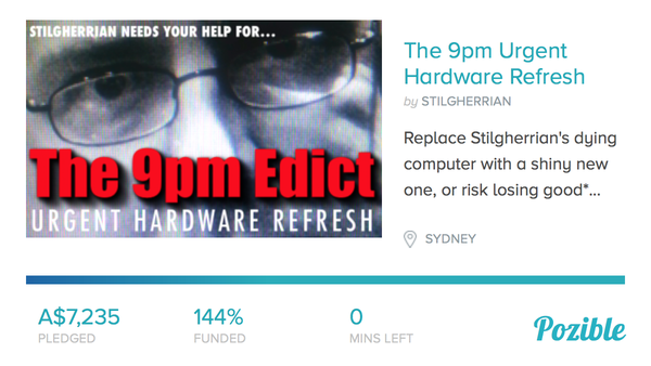 The 9pm Urgent Hardware Refresh final status image: click for Pozible project page