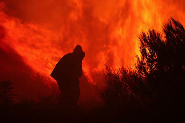 Firefighters tackle the Wentworth Falls bushfire, 2 August 2015