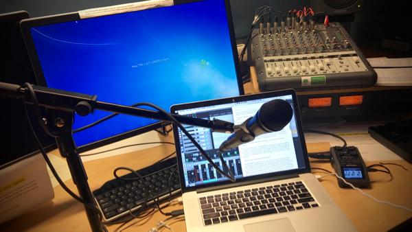 Recording Future Tense narration in ABC Radio studio E46