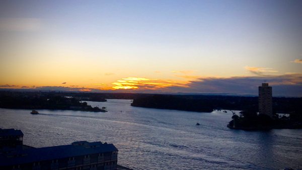 Sydney Harbour at sunset: click to embiggen