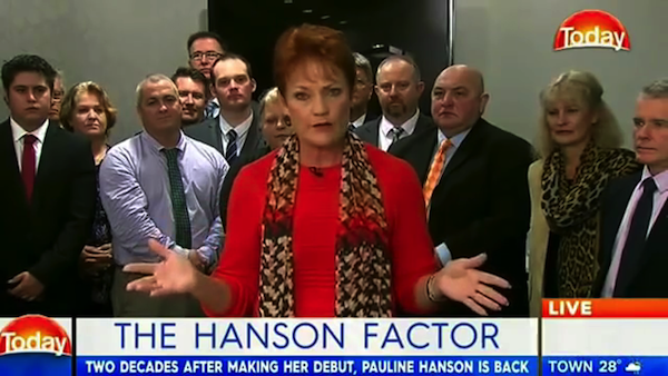 Pauline Hanson on Channel Nine's Today, 3 July 2016