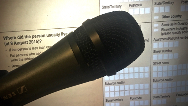 Photo of Census form, with a microphone in the foreground
