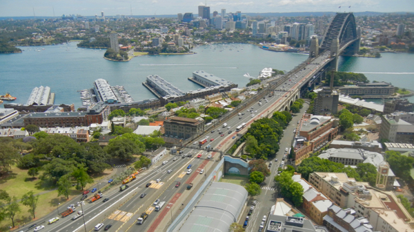 Sydney Harbour Bridge and its southern approaches: click to embiggen