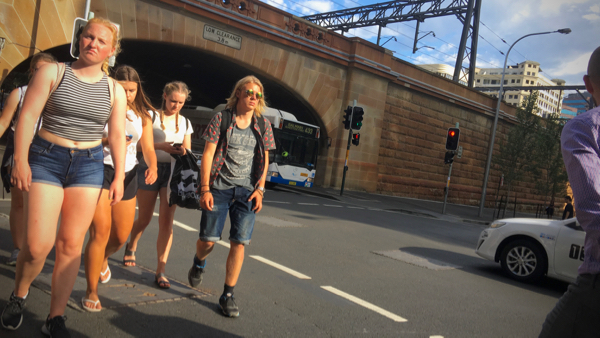 Backpackers on Campbell Street