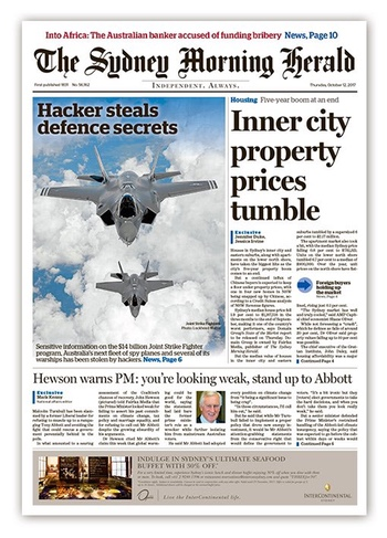Sydney Morning Herald front page, 12 Oct 2017