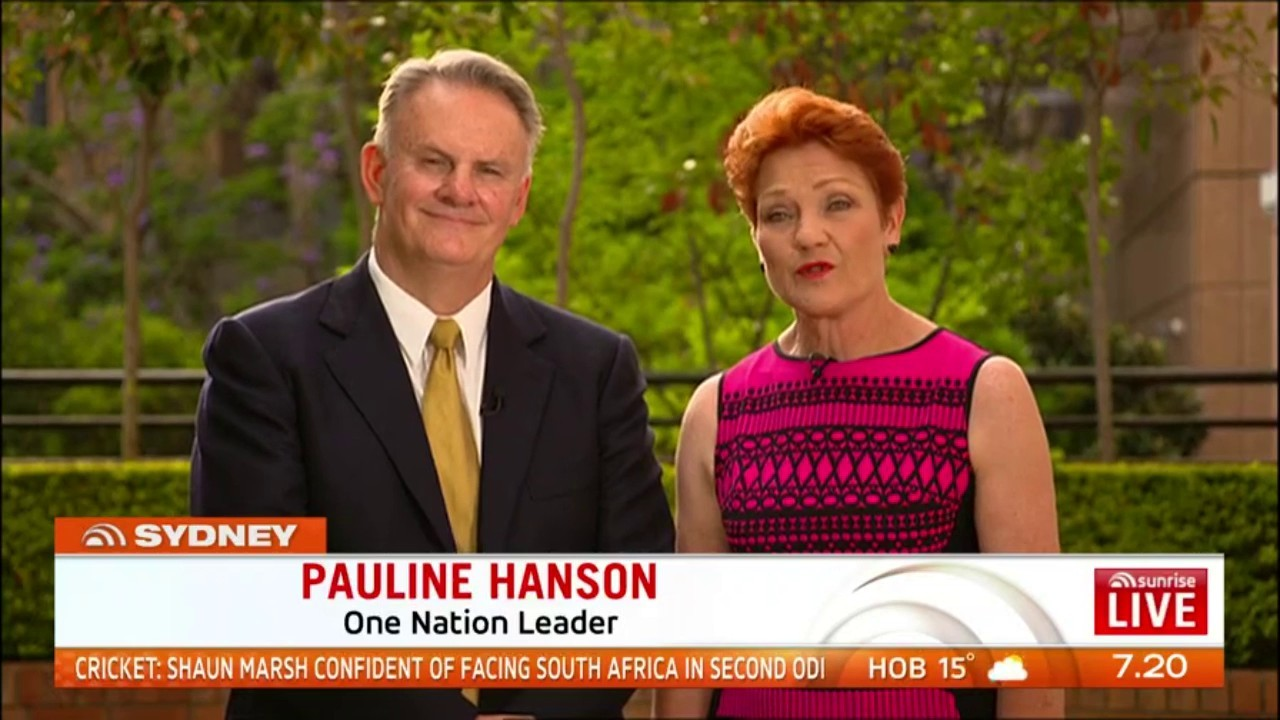 Mark Latham & Pauline Hanson via Sunrise On 7