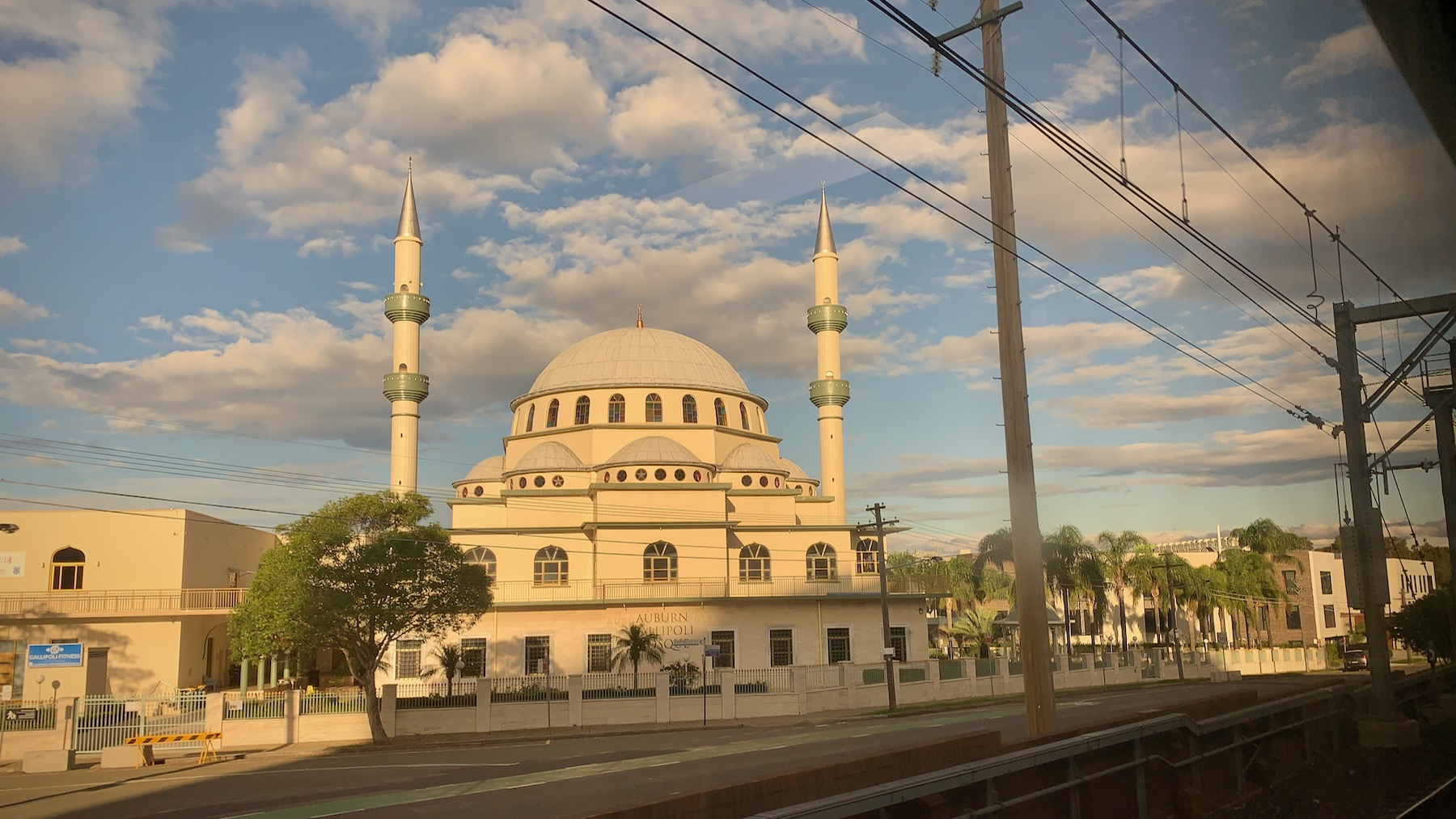 Auburn Gallipoli Mosque in Auburn, Sydney, photographed in the late afternoon from a moving train.