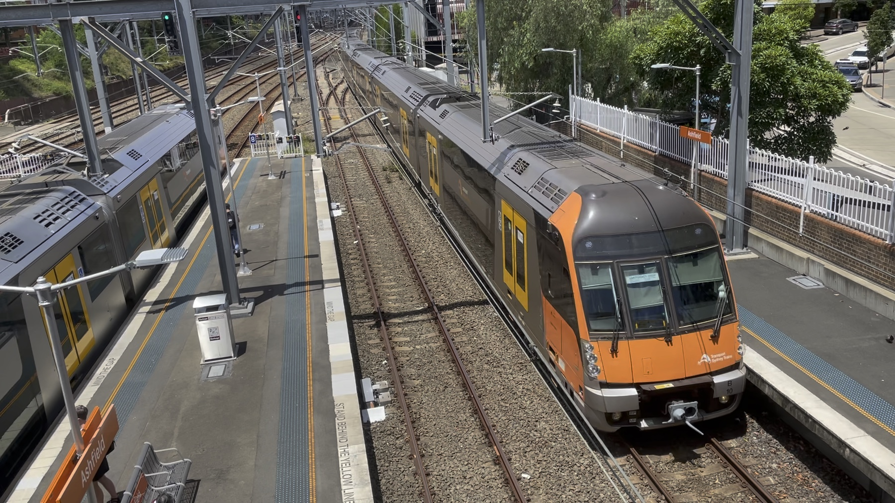 A Sydney Trains B-Set train arrives at Ashfield station